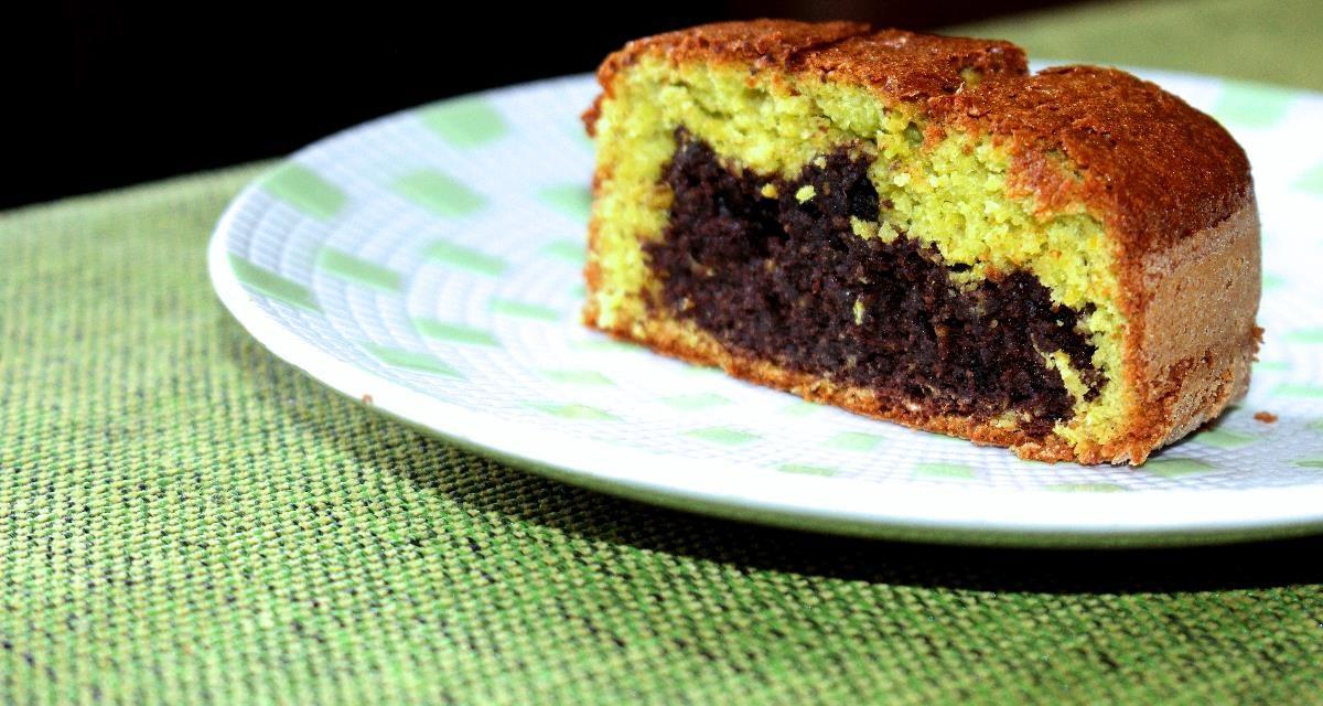 Pea flour cake and ricotta cheese