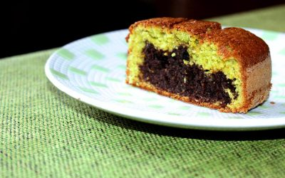Pea flour cake and ricotta cheese